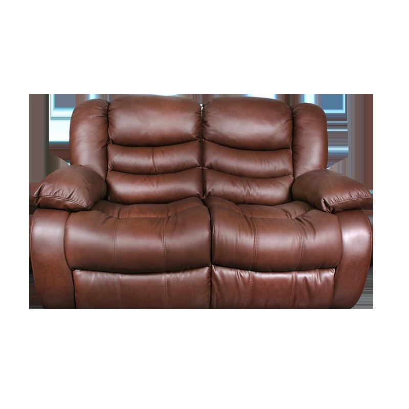 Кожени релакс гарнитури - Кожен диван - двойка с релакс механизъм AMANDA - средно кафяво