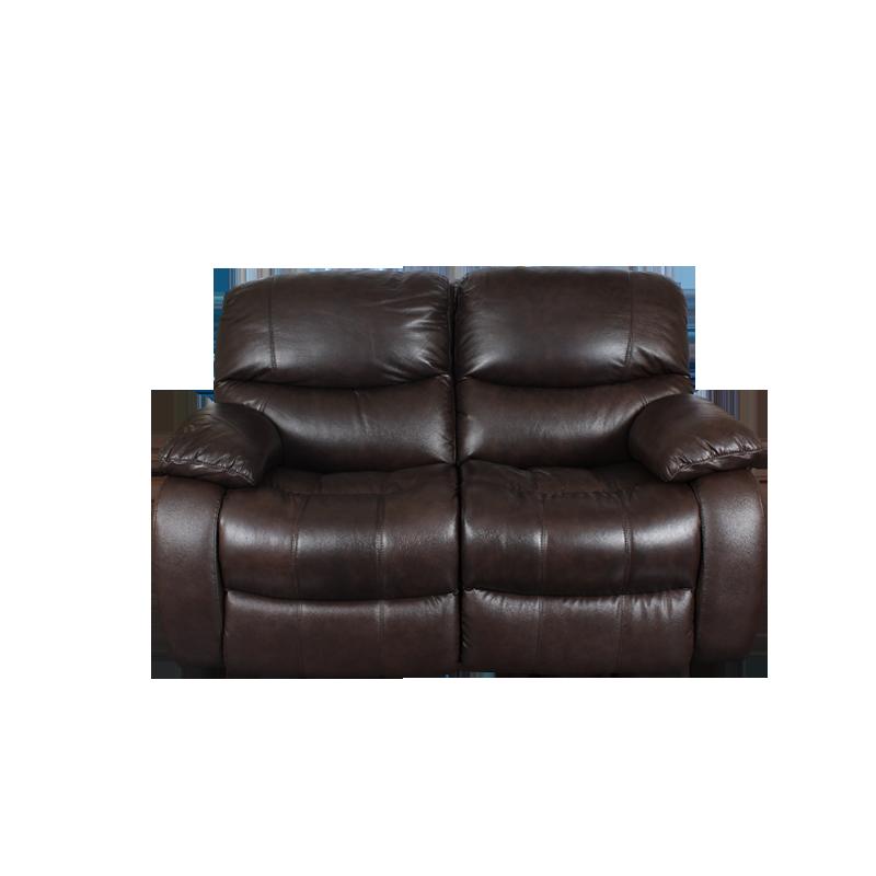 Кожени релакс гарнитури - Кожен диван - двойка с релакс механизъм LOUISA - тъмно кафяво