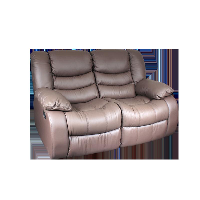 Кожени релакс гарнитури - Кожен диван - двойка с релакс механизъм AMANDA - кафяво