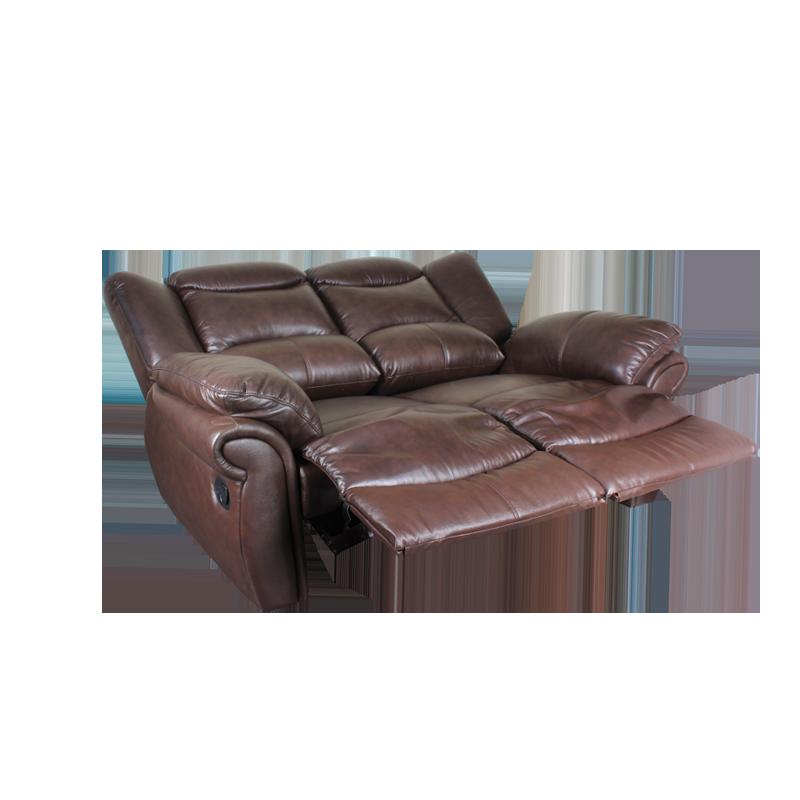 Кожени релакс гарнитури - Кожен диван - двойка с релакс механизъм MARY - тъмно кафяво