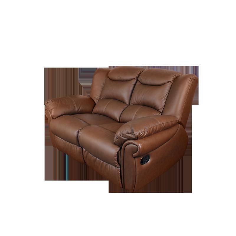 Кожени релакс гарнитури - Кожен диван - двойка с релакс механизъм MARY - средно кафяво